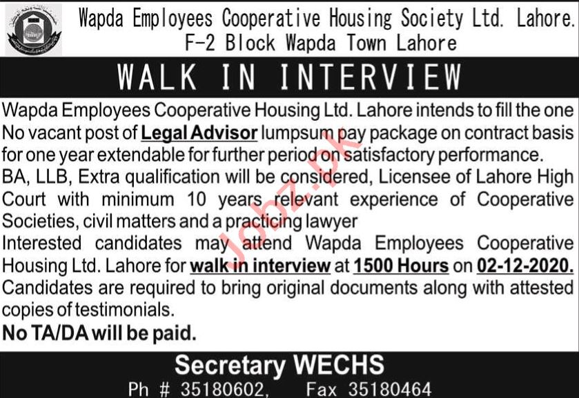Legal Advisor Jobs in Wapda Employees Cooperative Society