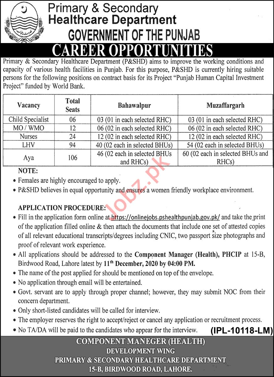LHV & Aya Jobs in Primary & Secondary Healthcare Department
