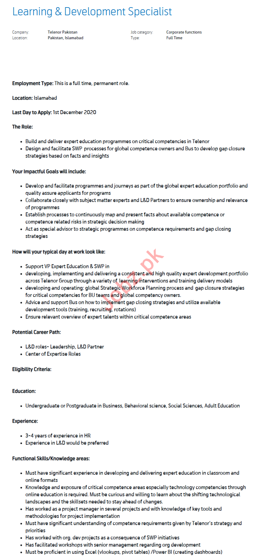 Learning & Development Specialist Jobs 2020 in Islamabad