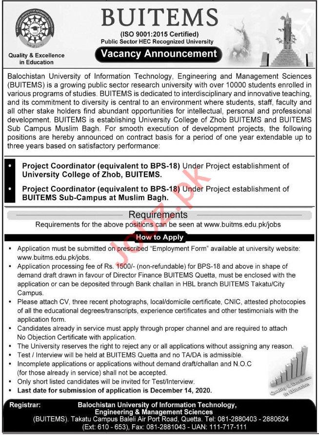 BUITEMS Balochistan University Jobs 2020 for Coordinator