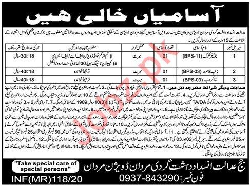Anti Terrorism Court Mardan Jobs 2020 for Junior Clerks