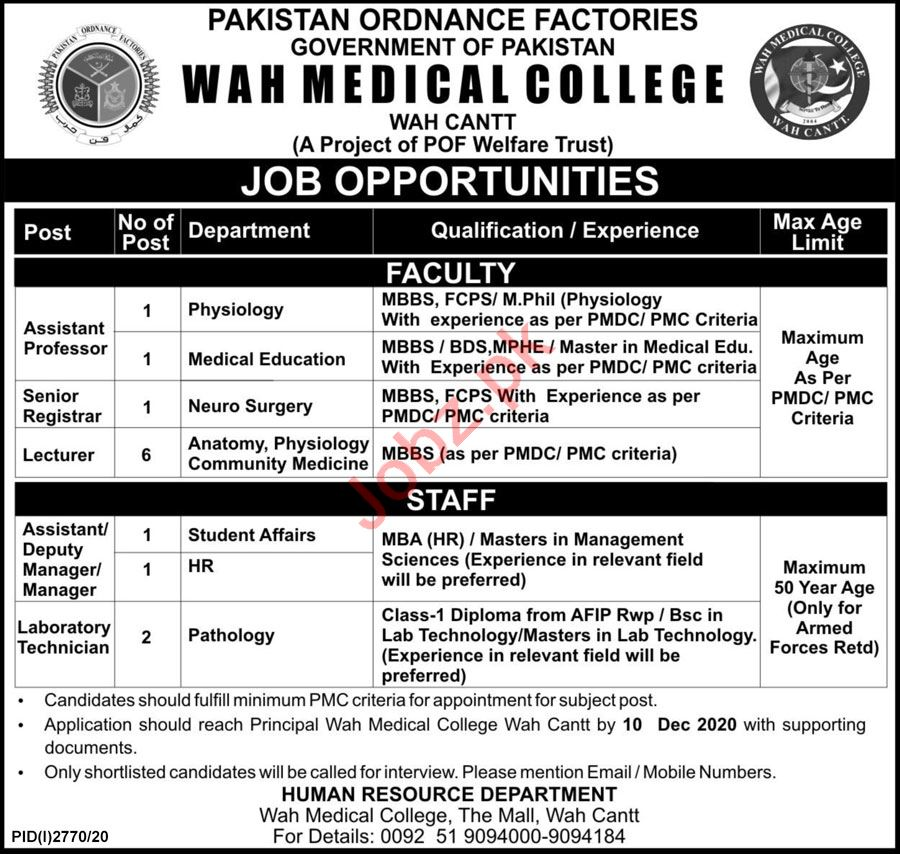 Wah Medical College Wah Cantt Jobs 2020 for Professors
