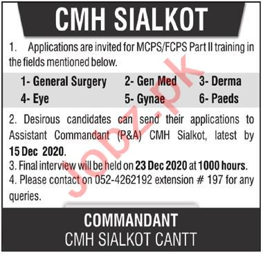 Combined Military Hospital CMH Sialkot Jobs 2020 for Doctors
