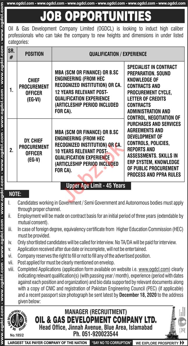 Chief Procurement Officer Jobs 2020 in OGDCL Islamabad