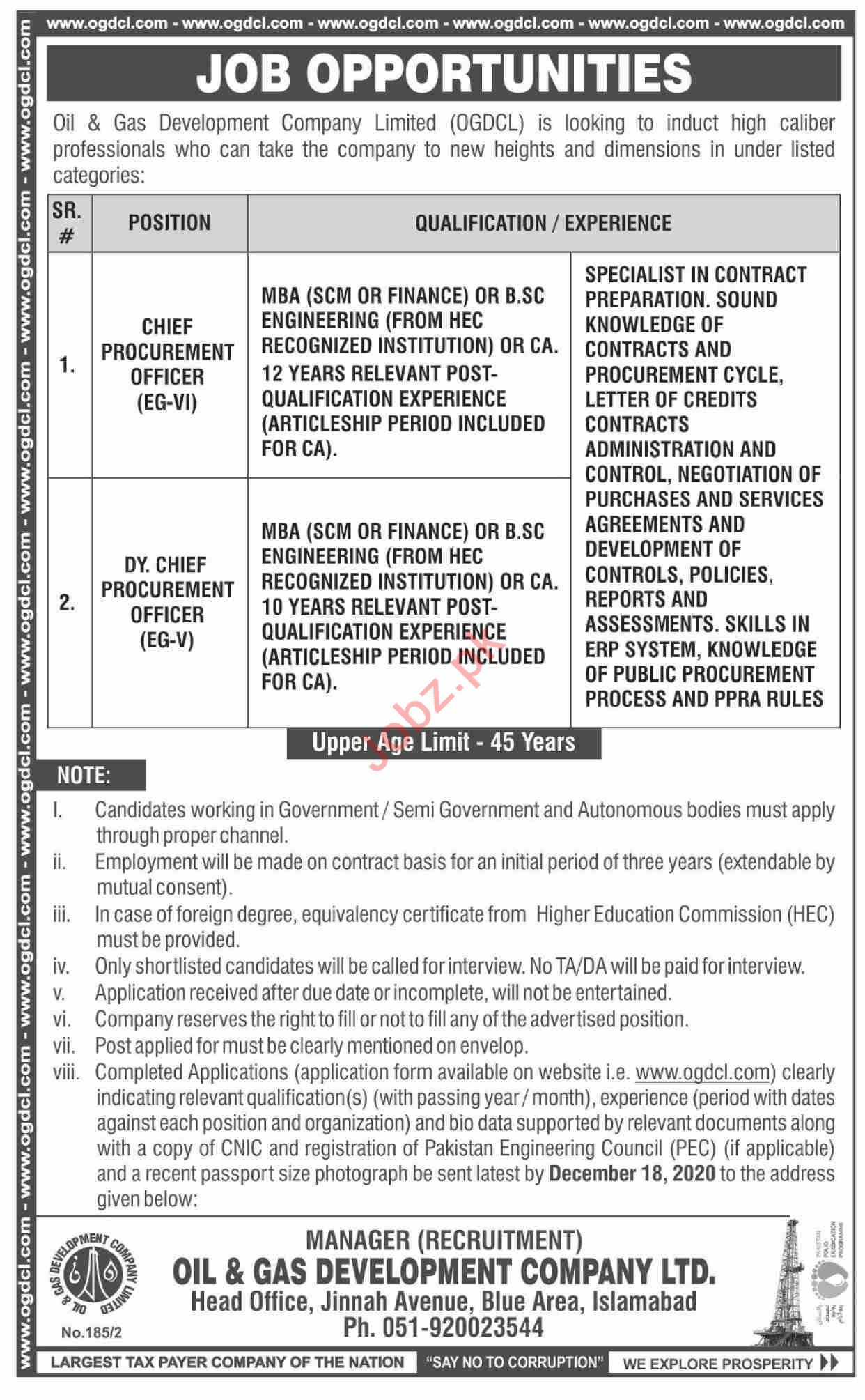 OGDCL Jobs 2020 for Deputy Chief Procurement Officer