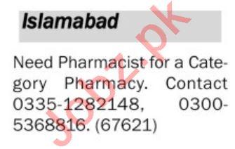 Pharmacist & Pharmacy Technician Jobs 2020 in Islamabad