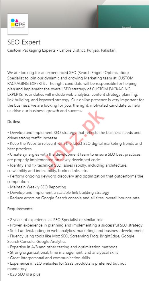 Custom Packaging Experts Lahore Jobs 2020 for SEO Expert