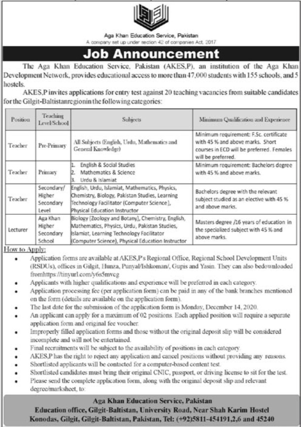 Aga Khan Education Service Pakistan Jobs 2020