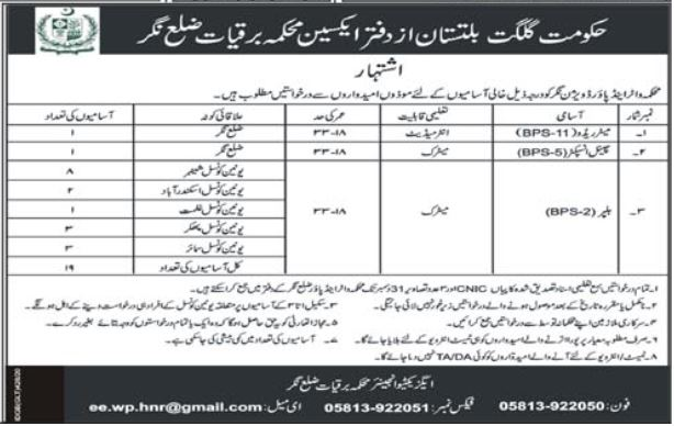 Water and Power Division Gilgit Baltistan Jobs 2020