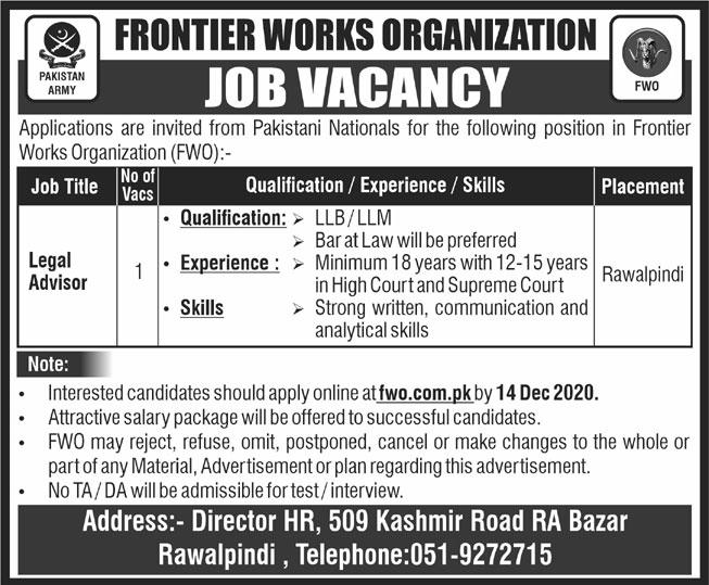 Frontier Works Organization FWO Rawalpindi Jobs 2020