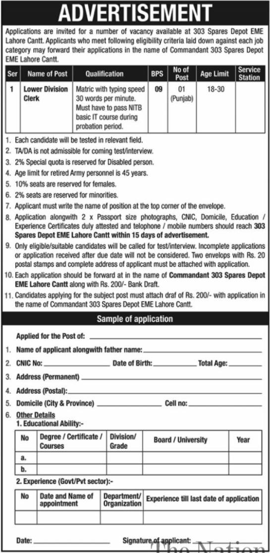 Pakistan Army 303 Spares Depot EME Lahore Jobs