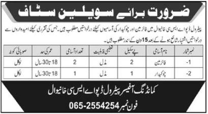 Petrol Depot ASC Khanewal Army Jobs 2020
