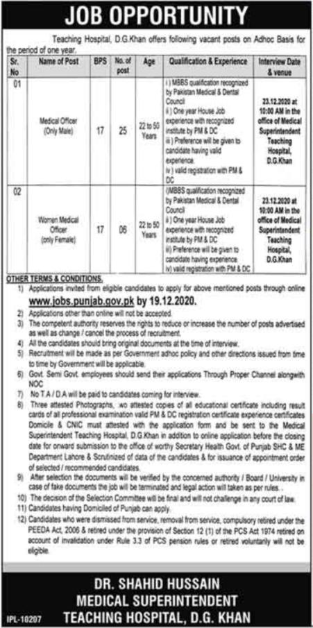 Teaching Hospital DG Khan Jobs 2020