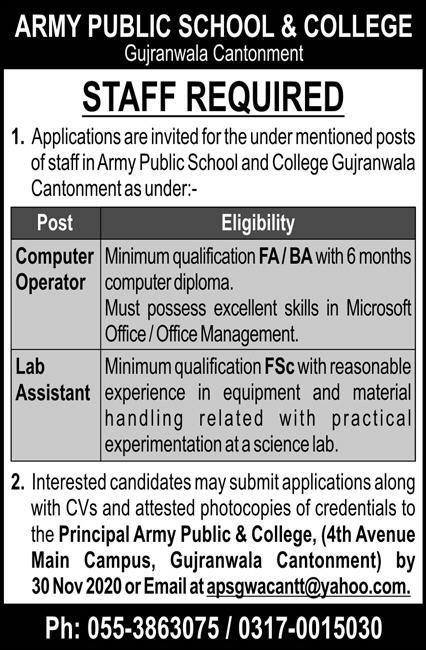 Army Public & College Jobs 2020 in Gujranwala