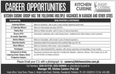 Kitchen Cuisine Group Jobs 2020 in Karachi & Rawalpindi
