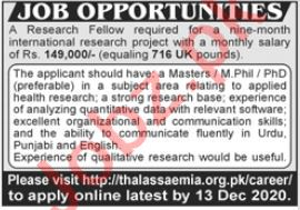 Thalassaemia Society of Pakistan Jobs 2020 Research Fellow