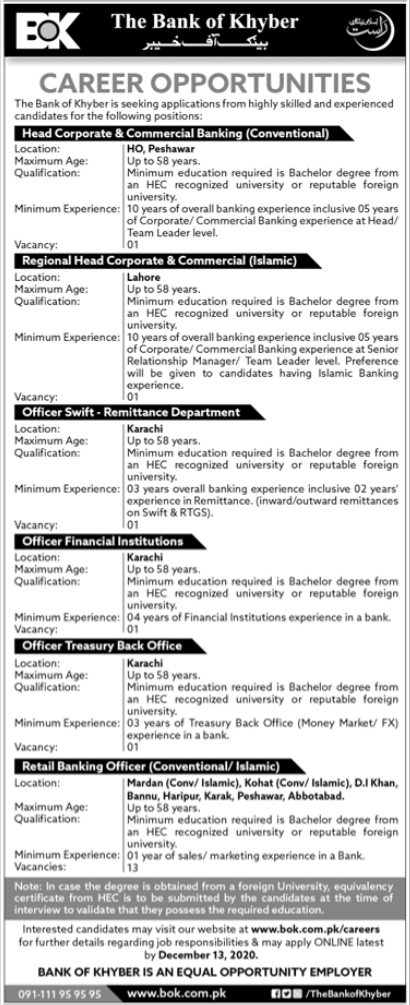 The Bank of Khyber BOK Jobs 2020 For Management Staff