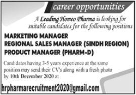 Homeo Pharma Group Jobs 2020 in Karachi