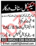 Sheet Fabricator & Electrician Jobs 2020 in Lahore