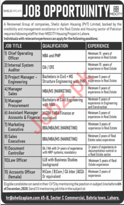 Sheliz Aplam Housing Lahore Jobs for Chief Operating Officer