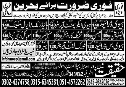 Haqeeqat Manpower Promoters Jobs 2020