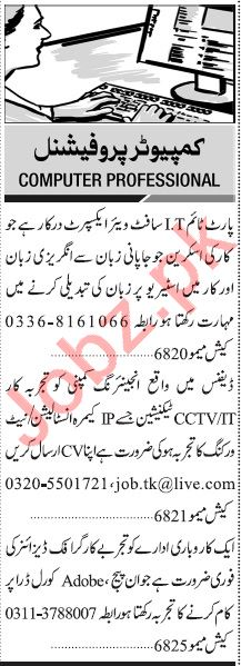 Jang Sunday Classified Ads 29 Nov 2020 for Computer Staff