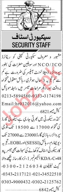 Jang Sunday Classified Ads 29 Nov 2020 for Security Staff