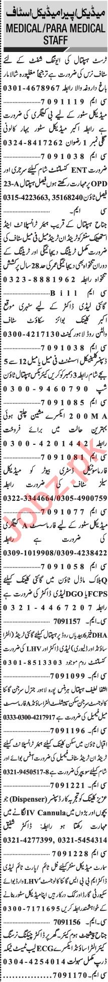 Jang Sunday Classified Ads 29 Nov 2020 for Medical Staff