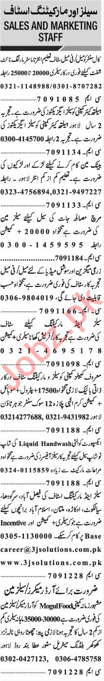 Jang Sunday Classified Ads 29 Nov 2020 for Marketing Staff