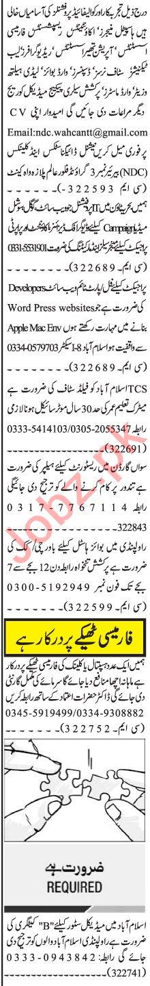 Jang Sunday Classified Ads 29 Nov 2020 for Management Staff