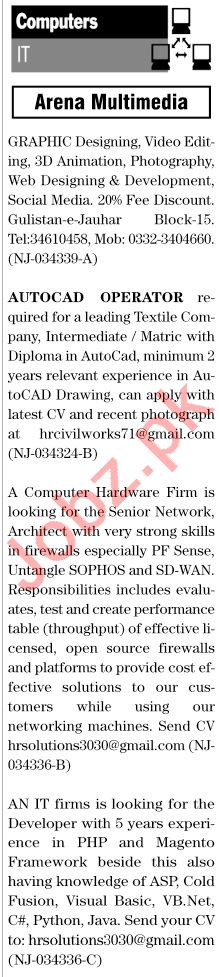 The News Sunday Classified Ads 29 Nov 2020 for IT Staff