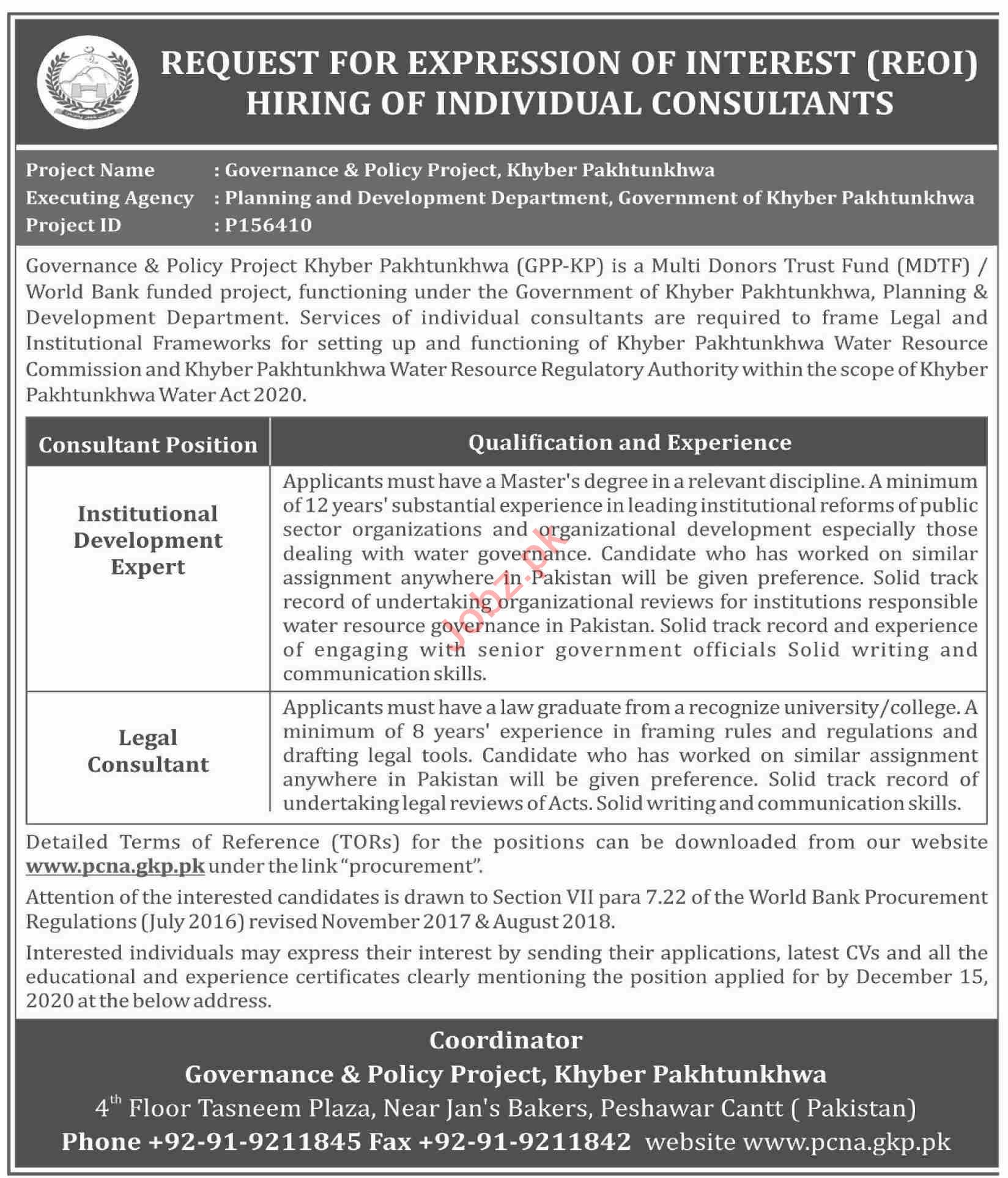 Governance & Policy Project KPK Jobs 2020 Legal Consultant