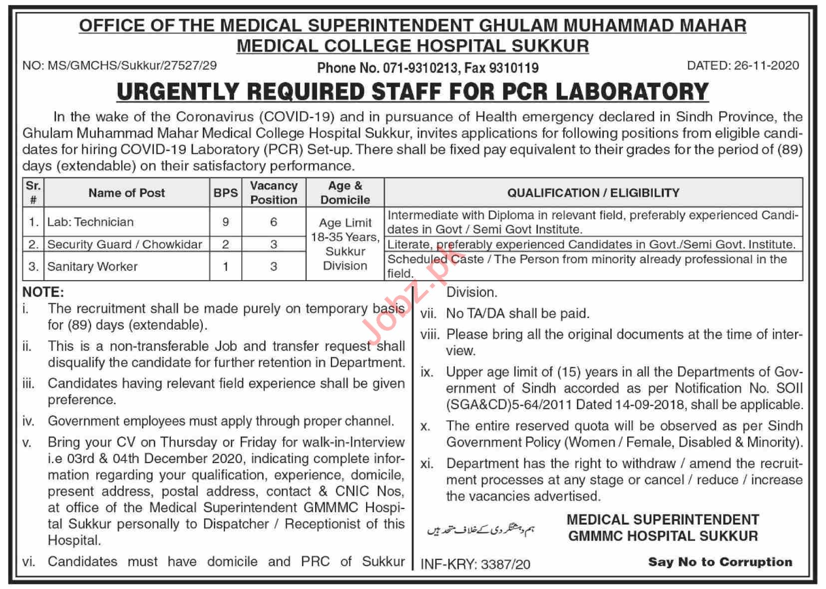 Ghulam Muhammad Mahar Medical College Hospital Jobs 2020