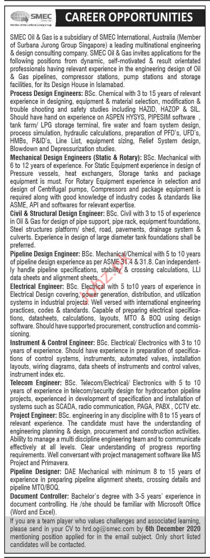SMEC International Jobs 2020 for Process Design Engineer