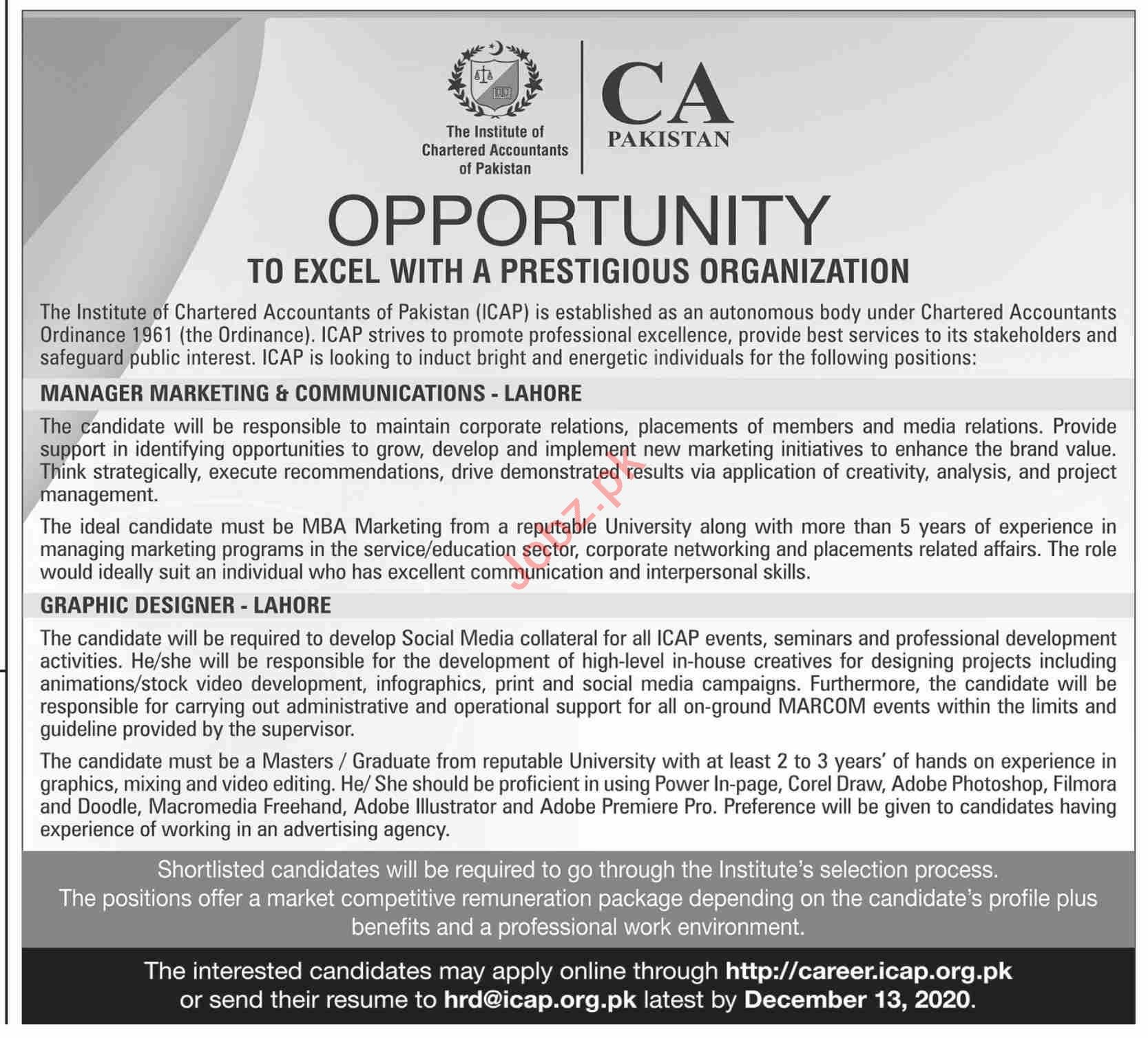 CA Pakistan Jobs 2020 for Manager Marketing & Communications