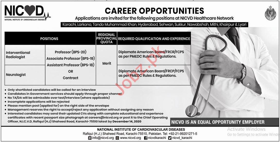 NICVD Sindh Jobs 2020 for Professors & Neurologist