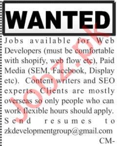 Web Developer & SEO Jobs 2020 in Lahore