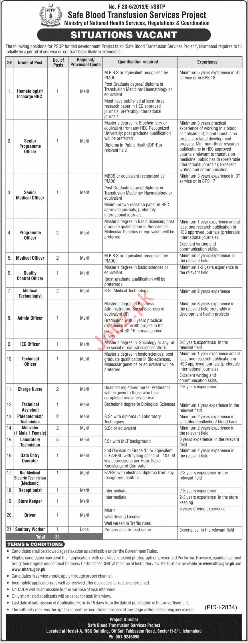 Safe Blood Transfusion Services Project SBTP Jobs 2020