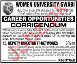 Deputy Director IT Jobs 2020 in Women University Swabi