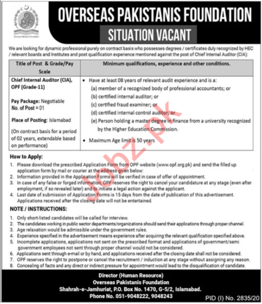 OPF Pakistan Jobs 2020 for Chief Internal Auditor