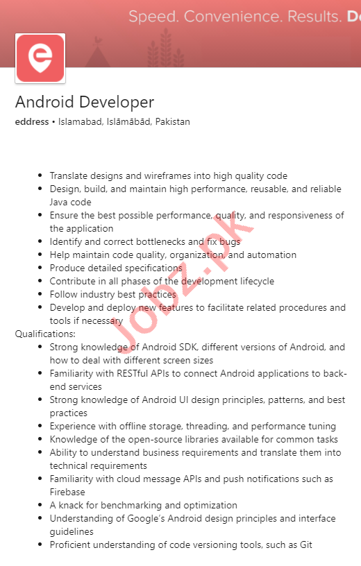 Eddress Islamabad Jobs 2020 for Android Developer
