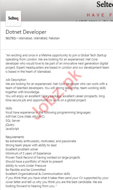 Selteq Islamabad Jobs 2020 for Dotnet Developer