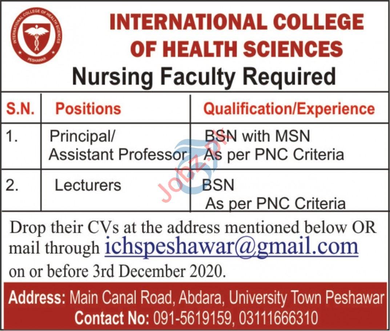 International College of Health Sciences ICHS Peshawar Jobs