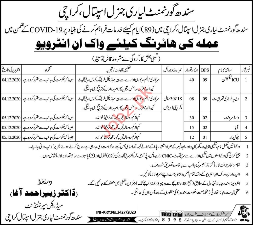 Government Hospital Lyari Karachi Jobs 2020 for Technician