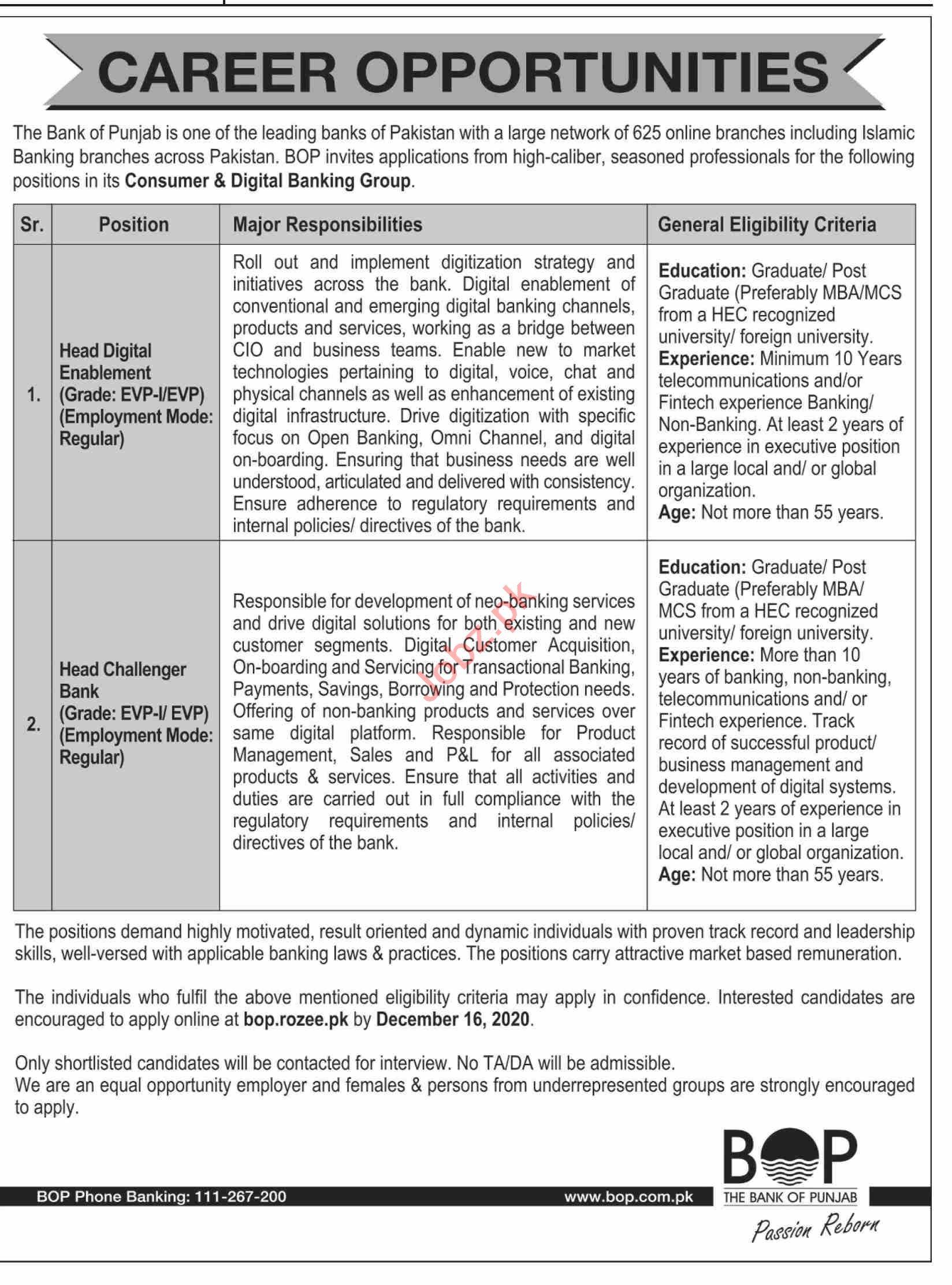 The Bank of Punjab BOP Jobs 2020 for Head Challenger Bank