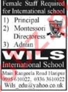 Wils International School Haripur Jobs 2020 for Principal