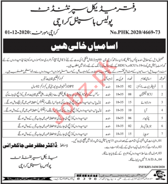 Police Hospital Karachi Jobs 2020 for ICU Technicians