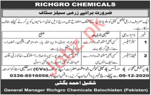 Richgro Chemicals Balochistan Jobs 2020 for Sales Officer