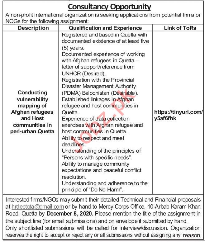 Afghan Refugees Consultant & Community Mobilizer Jobs 2020