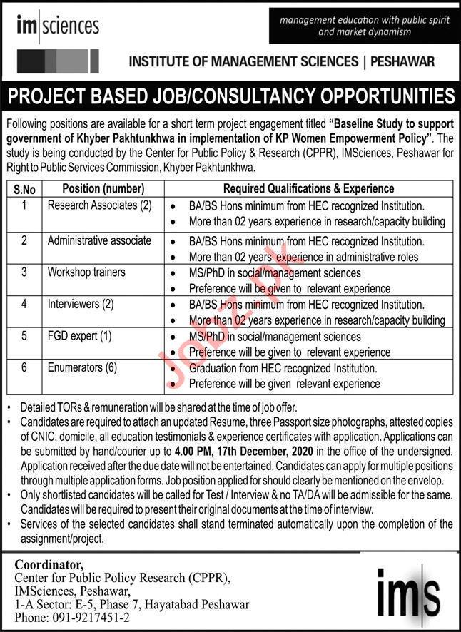 Institute of Management Sciences IMSciences Peshawar Jobs